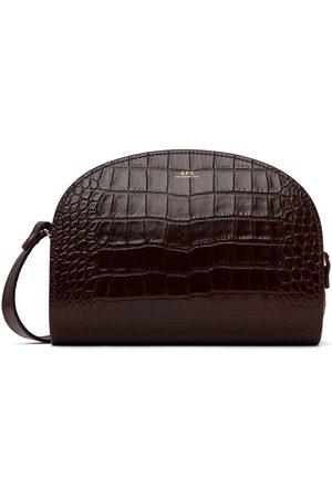A.P.C. Brown Croc Demi-Lune Bag
