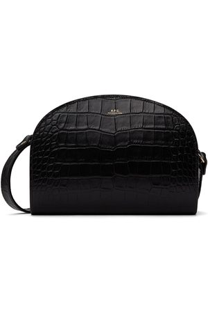 A.P.C. Black Croc Demi-Lune Bag