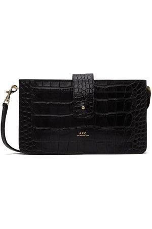 A.P.C. Black Croc Albane Shoulder Bag