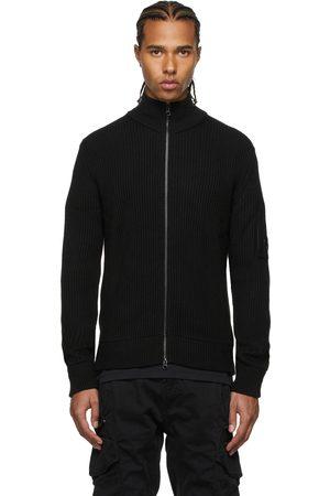 C.P. Company Black Wool Stand Collar Zip-Up Sweater