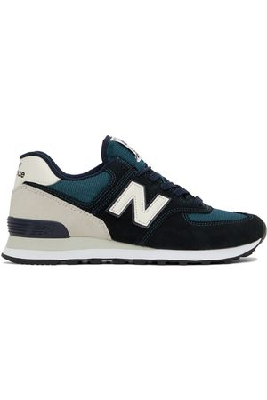 New Balance Navy & Off-White 574 Sneakers