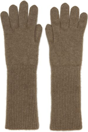 Auralee Brown Knit Baby Cashmere Long Gloves