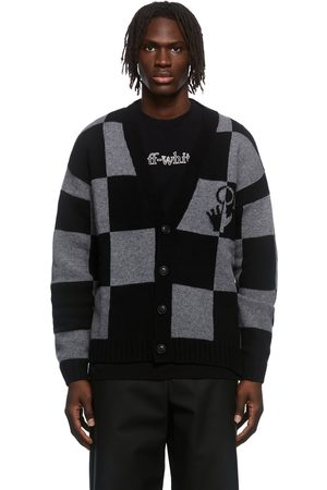 OFF-WHITE & Grey Check Knit Cardigan
