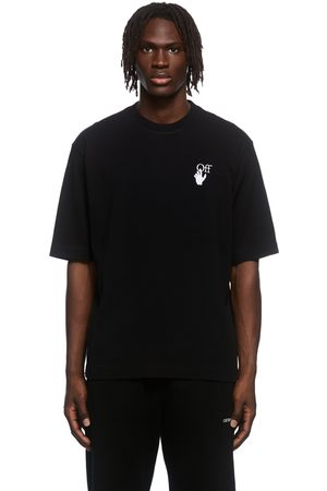 OFF-WHITE Black Cut Here Embroidered T-Shirt