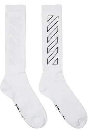 OFF-WHITE White Diagonal Mid Socks