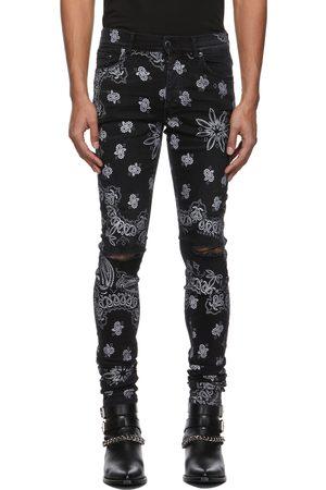 AMIRI Black Flocked Paisley Bandana Jeans