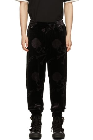 MASTERMIND Black Velour All-Over Sweatpants