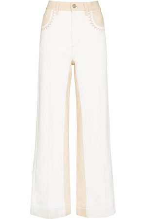 Chloé Women Flares - Two-tone flared jeans - Neutrals