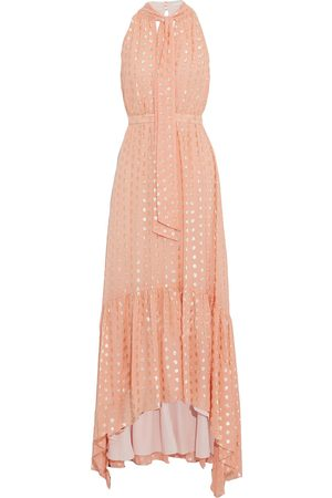 Ml Monique Lhuillier Women Asymmetrical Dresses - Woman Asymmetric Tie-neck Fil Coupé Georgette Maxi Dress Peach Size 10