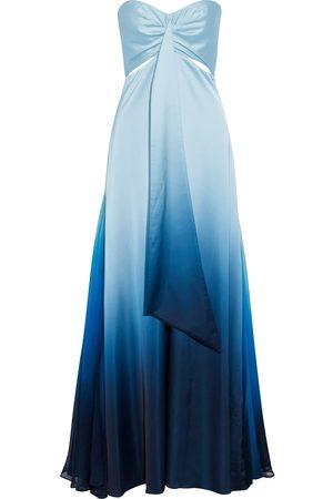 JONATHAN SIMKHAI Women Strapless Dresses - Woman Strapless Crepon-paneled Cutout Draped Dégradé Satin Gown Light Size 4