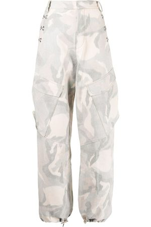 DION LEE Ikat camouflage-print cargo trousers - Neutrals