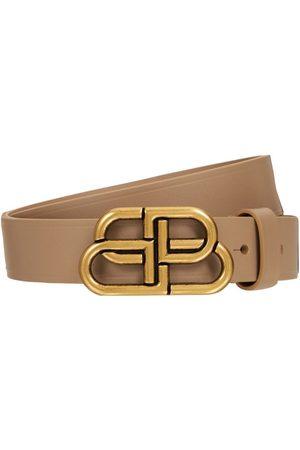 Balenciaga 3cm Bb Leather Belt