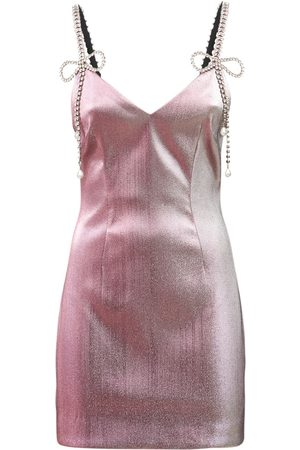 AREA Embellished Mini Dress W/bow Straps