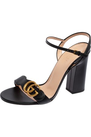 Gucci Leather GG Marmont Ankle Strap Block Heel Sandals Size 38.5