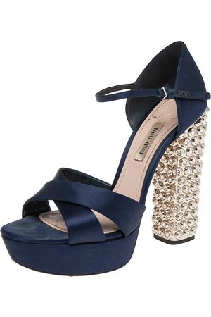 Miu Miu Women Heeled Sandals - Dark Satin Criss Cross Crystal Embellished Heel Sandals Size 38