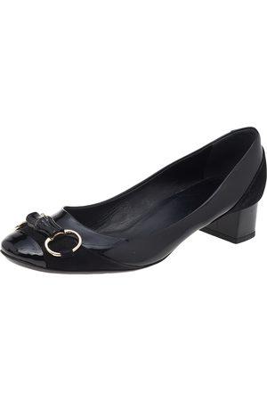 Gucci Women Heeled Pumps - Patent Leather Horsebit Block Heel Pumps Size 40