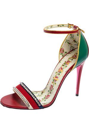 Gucci Leather Ilse Crystal Embellished Sandals Size 41