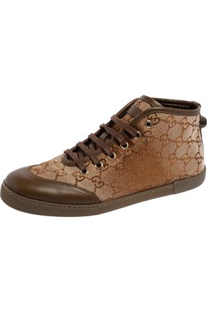 Gucci /Brown GG Monogram Canvas And Leather High Top Sneakers Size 37