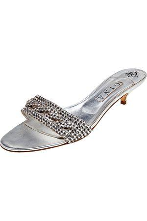 Gina Leather Crystal Embellished Kitten Heel Slide Sandals Size 41