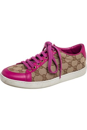 Gucci /Pink Leather And GG Supreme Canvas Low Top Sneakers Size 35