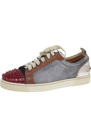 Christian Louboutin Boys Sneakers - Suede And Leather Louis Junior Spikes Low Top Sneakers Size 41