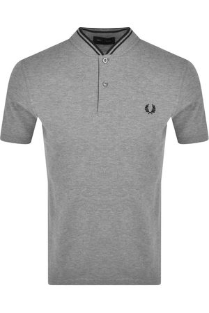 Fred Perry Men Bomber Jackets - Pique Bomber Neck T Shirt Grey