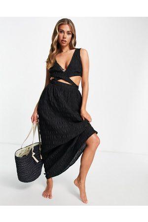 ASOS Women Maxi Dresses - Cross waist textured maxi beach dress in