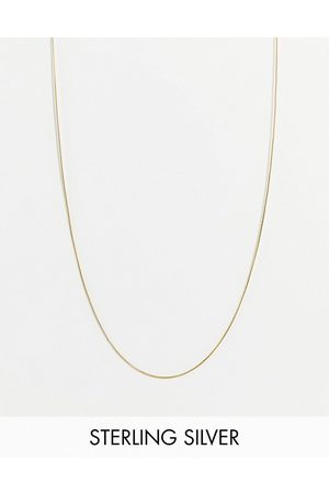 ASOS Men Necklaces - Sterling silver skinny neckchain with flat smooth chain in 14k plate
