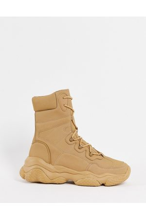 ASOS Lace up boots with chunky sole in tan faux suede