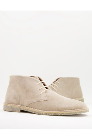 ASOS Men Lace-up Boots - Desert boots in stone suede-Neutral