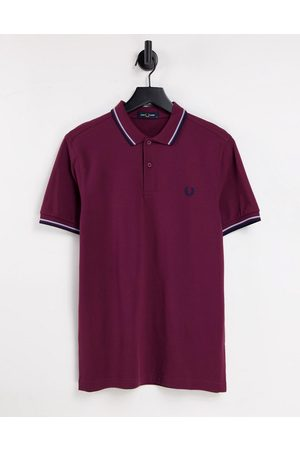 Fred Perry Twin tipped polo shirt in burgundy/blue/ navy
