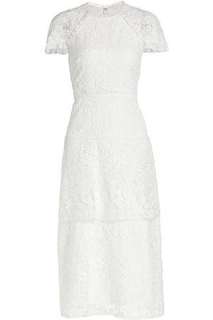 Ml Monique Lhuillier Lace Cap-Sleeve Midi-Dress