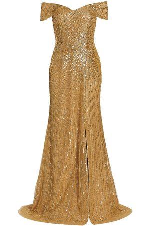 Rene Ruiz Collection Beaded Off-The-Shoulder Gown