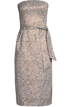 Kay Unger Lucia Jacquard Strapless Midi Dress