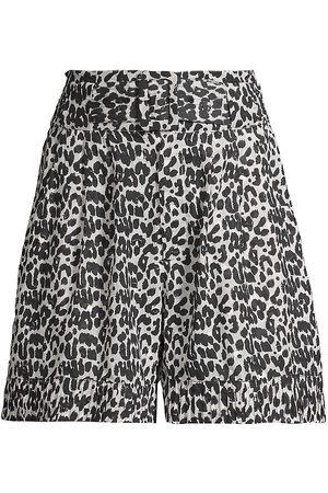 Solid and Striped Talia Leopard-Print Shorts