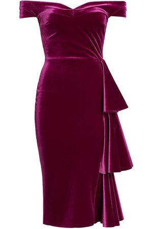 CHIARA BONI Wila Velvet Off-The-Shoulder Midi Dress