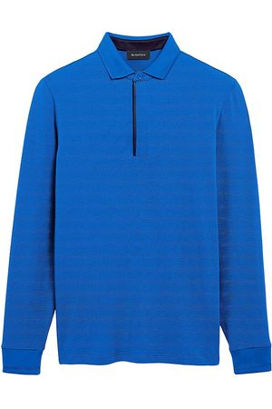Bugatchi Micro Stripe Quarter-Zip Polo Shirt