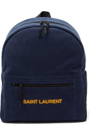 Saint Laurent Men Rucksacks - Logo-embroidered Corduroy Backpack - Mens - Navy