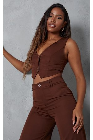 PRETTYLITTLETHING Chocolate Woven Belted Back Detail Suit Waistcoat Top