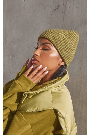 PRETTYLITTLETHING Women Beanies - Recycled Olive Two Tone Chunky Knitted Beanie