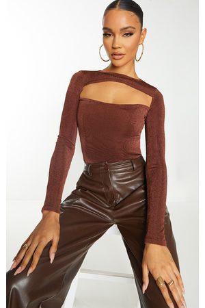 PRETTYLITTLETHING Women Long sleeves - Chocolate Acetate Slinky Long Sleeve Long Top