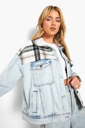 Boohoo Womens Brush Flannel Panel Oversized Jean Jacket - - 2