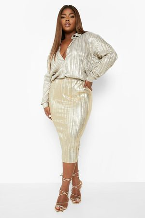 Boohoo Womens Plus Glitter Plisse Tube Midi Skirt - - 12