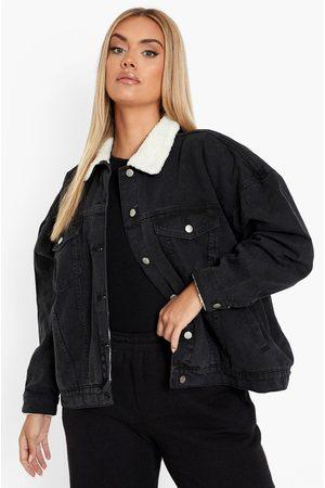 Boohoo Womens Plus Borg Lined Jean Jacket - - 12