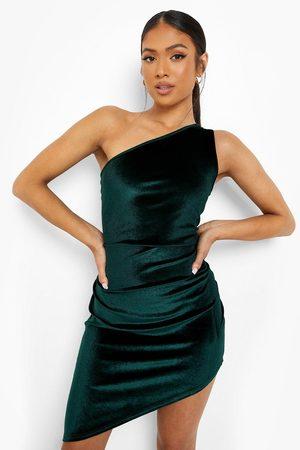 Boohoo Womens Petite Velvet Asymmetric Bodycon Dress - - 2