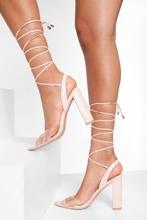 Boohoo Womens Clear Strappy Patent Court Shoes - - 5