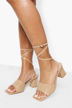 Boohoo Womens Wide Fit Croc Low Block Strappy Heel - - 5