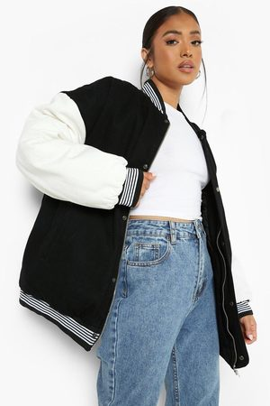 Boohoo Women Denim Jackets - Womens Petite Contrast Sleeve Denim Varsity Jacket - - 2