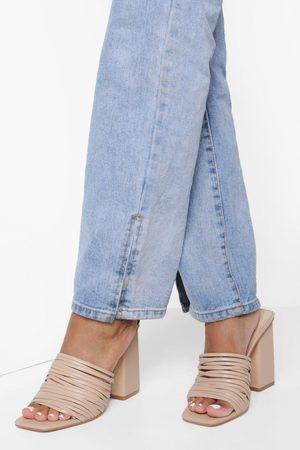 Boohoo Womens Strap Layered Block Heel Mules - - 5