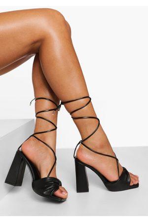 Boohoo Womens Wide Fit Twist Detail Lace Up Heel - - 5